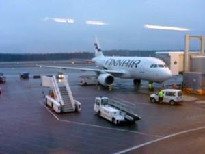 Ankunft in Helsinki (Finnland); Wir warten auf unseren Anschlussflug nach China.